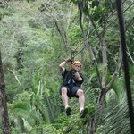 Zip-lining through the jungle