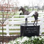 April snow covers the statue of Alysheba