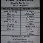 The shuttle's schedule