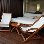 Outdoor pool and recliners