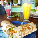 Huge burritos and fruit drinks
