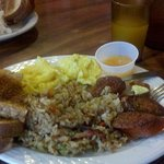 Scrambled eggs, portuguese sausage and fried rice.....delicious