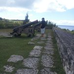 Side view of the three canons at Fort Soledad, Guam
