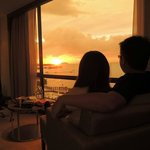 Romance sunset at room