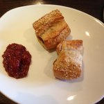 Sausage roll and jam--- delicious