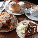 Lemon meringue tart, rustic apple crumble and decadent chocolate and pecan tart