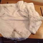 Dirty towel from wiping picture frames and bed.