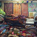 The 2nd floor of the shop - textiles galore!