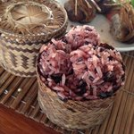 Sticky red rice and stuffed lemongrass