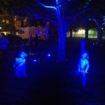 Sculpture Garden at night for our event