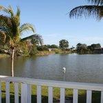 Aussicht von der Veranda auf den kleinen See
