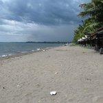 Dirty beach with trash