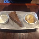 Peanut butter cheesecake with honeycomb ice cream and cream. Recommend