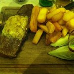 Gorgeous piece of steak with fluffy chips