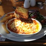 Lasagne with Chips, Garlic Ciabatta and Salad dressed in balsamic dressing!