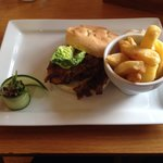 Seared steak with caramelised onions and mushrooms on focaccia bread and chips amazing!!!