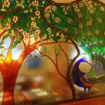 Amazing stained glass in dining area