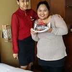 My daughter with Ms Dewi and d bday cake from Banana Inn