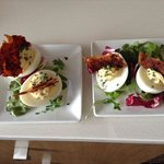Deviled Eggs w/ Crispy Chicken Skin.... Offered in the Bistro....