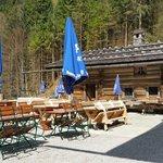 Biergarten, kleine Hütte wird gerade renoviert