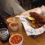 Fish n chips w great beer!