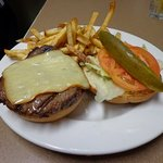 """Our House-made """"Basic Burger"""" with Applewood Smoked Cheddar!"""