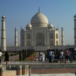 Up-close actually on the Taj Mahal campus.  5- 10 mins from the hotel.   Get a guide...
