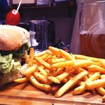 30 day aged beef burger with great fries and a nice pint!