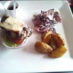 I split the burger on the menu with my sister... Nice presentation