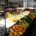 Fresh smoothies and fruit at the library cafe