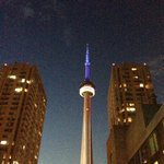 View of CN Tower from pool deck