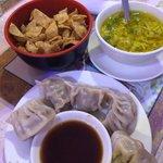 Egg drop soup and some dumplings