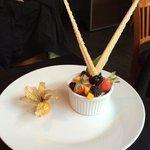 Wife's desert. Pistachio ice cream. 4/24/14