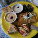 Combination appetizer plate - yum!