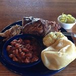 Three meat combo with potato salad & BBQ beans