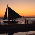 sunset boracay sail boats