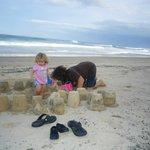 Sunshine Beach Mild Winter's Day Building Sand Castles