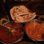 Chicken masala and butter chicken. Garlic and cheese naan