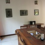 old and worn dining tables and chairs