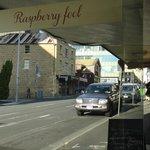 outside Raspberry Fool with list of hot cross bun varieties