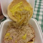 Maxwell St Pork Chop Sandwich: Pork Chop light and processed looking, onions watery