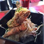 Tiger prawns with flavoured rice and soy (daily special)