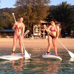 Playing STAND UP PADDLE in front of   The Cabana by rental at Shamrock Watersport just next door