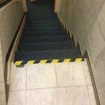 hazard tape on steps