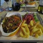 Ratatouille with salad and chips