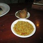 Roast leeks and rice