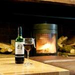 Log burner in the Courtyard Bar