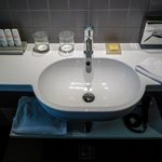 The sink in the bathroom, modern and stylish