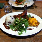 Creole chicken with sweet potato mash, rice and peas, watercress/coconut/pineapple salad