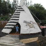 Teepee with displays inside.